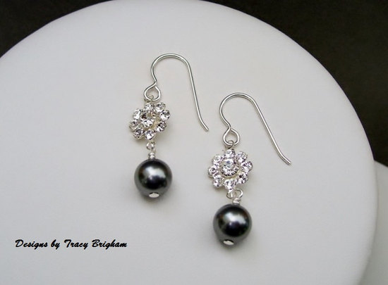 Swarovski Pearls and Flower Crystal Link Bridal Earrings
